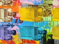 "Eleven Cameras, 2013, 36""x36"", acrylic, screen print & marker on canvas."