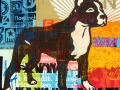 """American Pit, 2010, 24""""x24"""", acrylic & mixed media on canvas."""