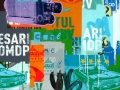 "Ciudad #5, 2011, 36""x36"", acrylic, screen print, spray paint & marker on canvas."