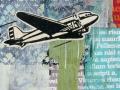 "Plane, 2009, 18""x18"", acrylic & mixed media on panel."