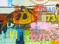 "Sky Patrol #13, 2013, 36""x36"", acrylic, screen print, spray paint & marker on canvas."