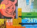 "Diablita #2, 2013, 36""x36"", acrylic, screen print & marker on panel."