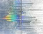 "Liquid Mercury Waterway, spray paint, beeswax, holographic paper & resin on birch panel, 2 panel 30"" x 44"" x2"" $9,000 copy"