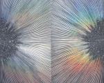 "Sylvia Hommert, Hematite, aquatint, beeswax, glitter,holographic paper & resin on birch panel, 30"" x 30"" x 2"" $6,500"