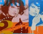 "Sophia X2, 2014, 12""x12"", acrylic, screen print, spray paint & marker on panel."